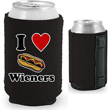 "Load image into Gallery viewer, black magnetic can koozie with I (heart) wieners"" text and hot dog illustration funny design"