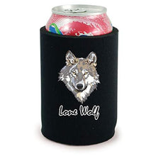Load image into Gallery viewer, full bottom can koozie with lone wolf design