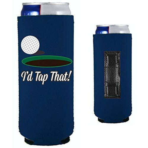 navy blue magnetic slim can koozie with i'd tap that funny golf design