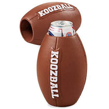 "Load image into Gallery viewer, ""koozball"" logo on a hard foam football shaped koozie with a beer inside"