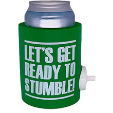 "Load image into Gallery viewer, green thick foam can koozie with shotgun beer device and ""let's get ready to stumble"" funny text design"