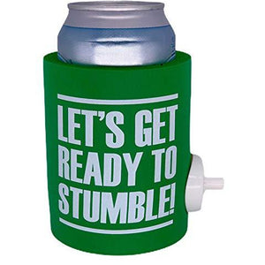 "green thick foam can koozie with shotgun beer device and ""let's get ready to stumble"" funny text design"