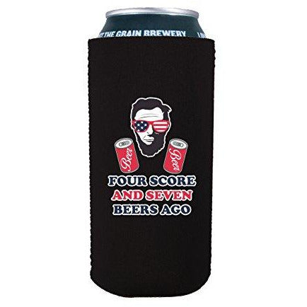 16 oz can koozie with four score design