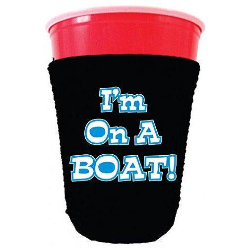 black party cup koozie with im on a boat design