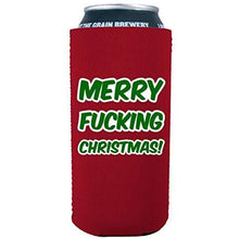 Load image into Gallery viewer, 16 oz can koozie with merry christmas design