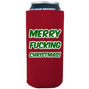 16 oz can koozie with merry christmas design