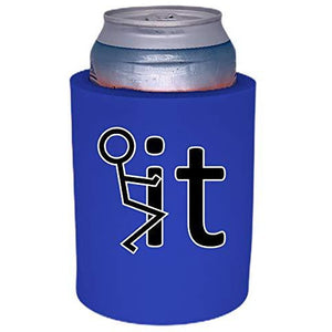 royal blue old school thick foam koozie with fuck it design