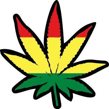 vinyl sticker with rasta leaf design