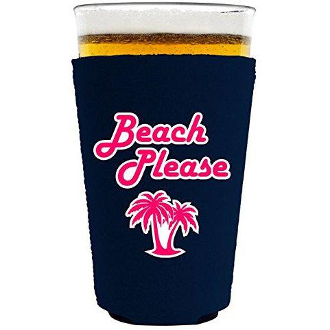pint glass koozie with beach please design