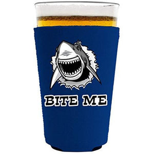 pint glass koozie with bite me design