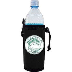 "black water bottle koozie with ""i'd rather be fishing"" text and fish illustration"