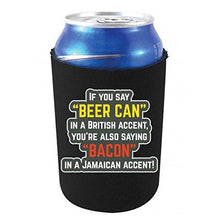 Load image into Gallery viewer, black can koozie with beer can bacon accents funny text design
