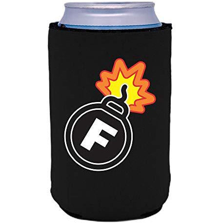 black can koozie with f bomb funny print design
