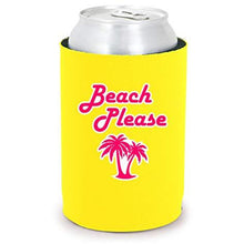 "Load image into Gallery viewer, Yellow full bottom can koozie with ""beach please"" text and palm tree design"