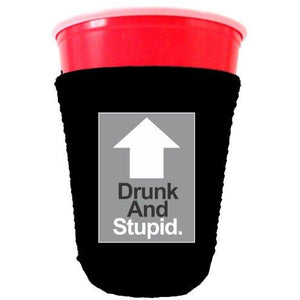 black party cup koozie with drunk and stupid design