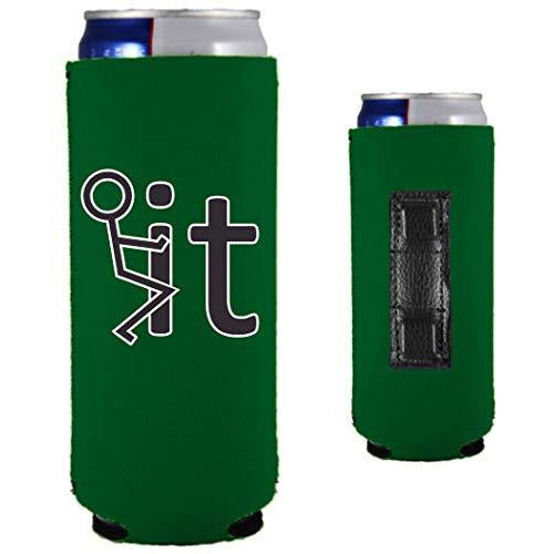 kelly green magnetic slim can koozie with funny fuck it (stick figure) design