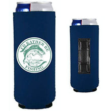 Load image into Gallery viewer, navy blue magnetic slim can koozie with i'd rather be fishing funny design