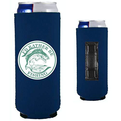 navy blue magnetic slim can koozie with i'd rather be fishing funny design