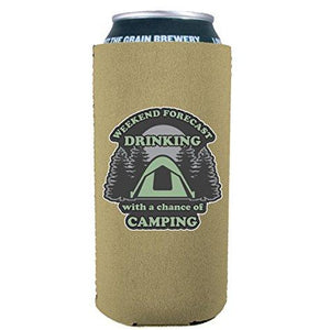 Weekend Forecast Drinking with a chance of Camping 16 oz. Can Coolie