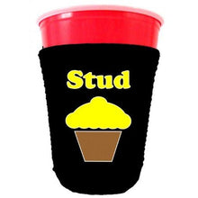 Load image into Gallery viewer, black party cup koozie with stud muffin design