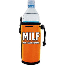 "Load image into Gallery viewer, orange water bottle koozie with ""MILF man i love fishing"" funny text design"