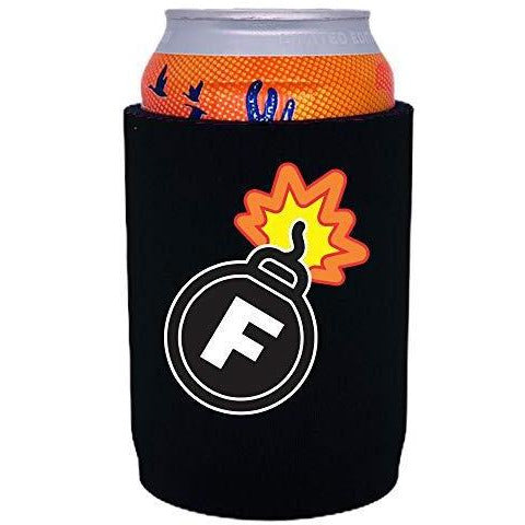 black full bottom can koozie with f bomb funny design