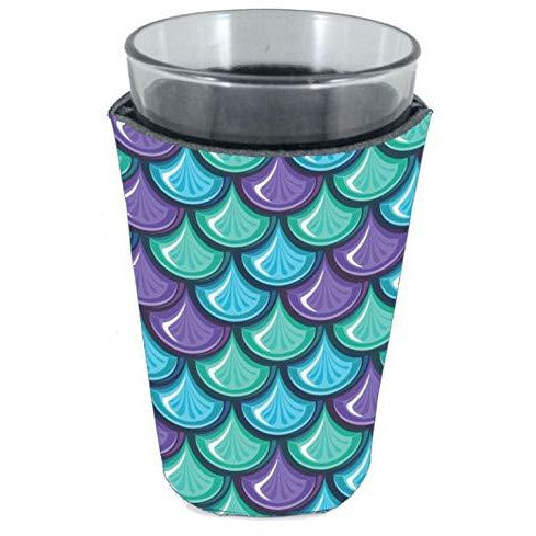 pint glass koozie with fish scale design