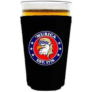 "black pint glass koozie with ""'Murica 1776"" logo and bald eagle mullet funny design"