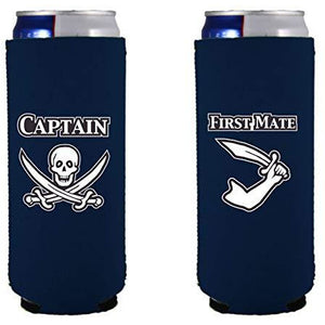 Captain and First Mate Slim 12 oz Can Coolie Set