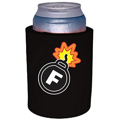 black thick foam can koozie with f bomb funny print design