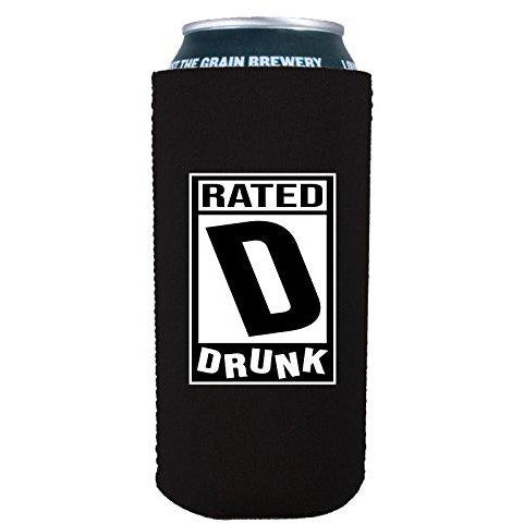 16 oz can koozie with rated d for drunk design