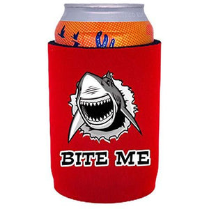 full bottom can koozie with bite me design