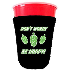 black party cup koozie with dont worry be hoppy design