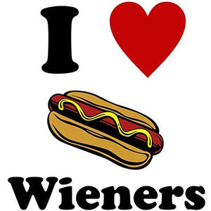 vinyl sticker with i love wieners design