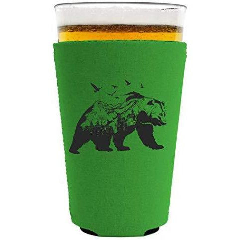 bright green pint glass koozie with mountain bear graphic design