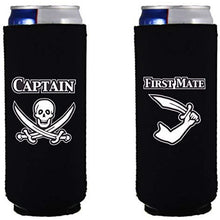 Load image into Gallery viewer, slim can koozie with captain and first mate design