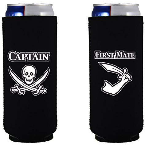slim can koozie with captain and first mate design