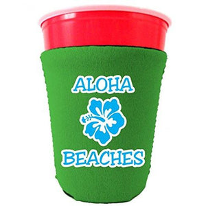 bright green party solo cup koozie with aloha beaches design