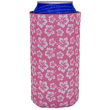 Load image into Gallery viewer, 16 oz can koozie with hibiscus flowers pink and white design