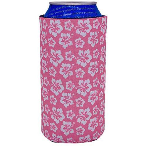 16 oz can koozie with hibiscus flowers pink and white design