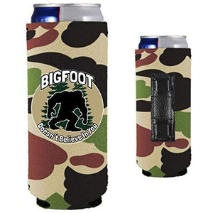 camo magnetic slim can koozie with bigfoot doesn't believe in you design