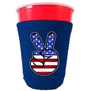 America Peace Sign Party Cup Coolie