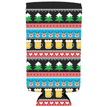 Load image into Gallery viewer, Reindeer and Beer Christmas Slim 12oz Can Coolie