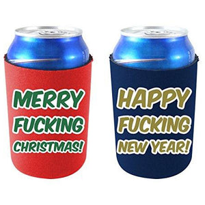"can koozie set with red and green ""merry fucking christmas!"" and navy and gold ""happy fucking new year!"" text designs."