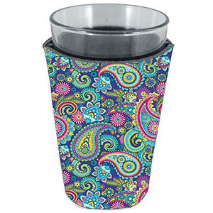 pint glass koozie with paisley pattern design