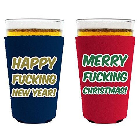 pint glass koozie with meery christmas happy new year design