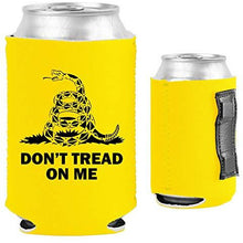 Load image into Gallery viewer, yellow magnetic can koozie with don't tread on me gadsden flag design and snake graphic