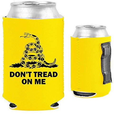 yellow magnetic can koozie with don't tread on me gadsden flag design and snake graphic