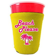 Load image into Gallery viewer, yellow party cup koozie with beach please design