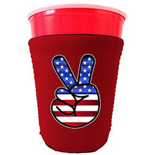 Load image into Gallery viewer, red party cup koozie with american peace sign design